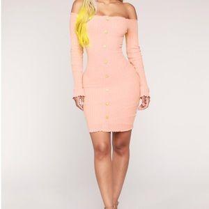 Jacklyn off Shoulder Mini Dress- Light Pink